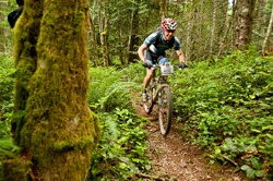 Un ciclista in mountain bike
